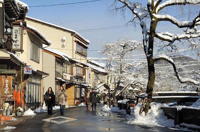 城崎温泉の雪景色